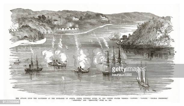 attack upon the batteries at the entrance of acqua creek, potomac river, by various united states vessels, june 1, 1861, civil war engraving - us navy stock illustrations, clip art, cartoons, & icons