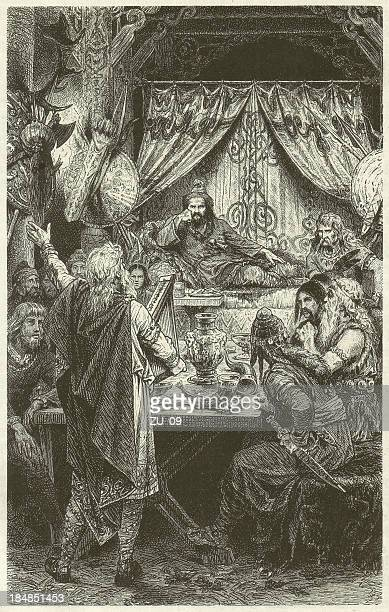 Attila (King of the Huns, ?-453), wood engraving, published 1880