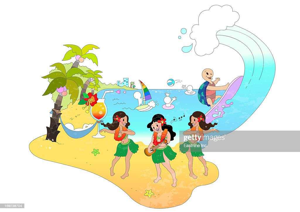 Attractions of Hawaii : Stock Illustration