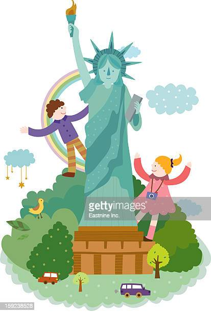 attractions of new york - liberty island stock illustrations, clip art, cartoons, & icons