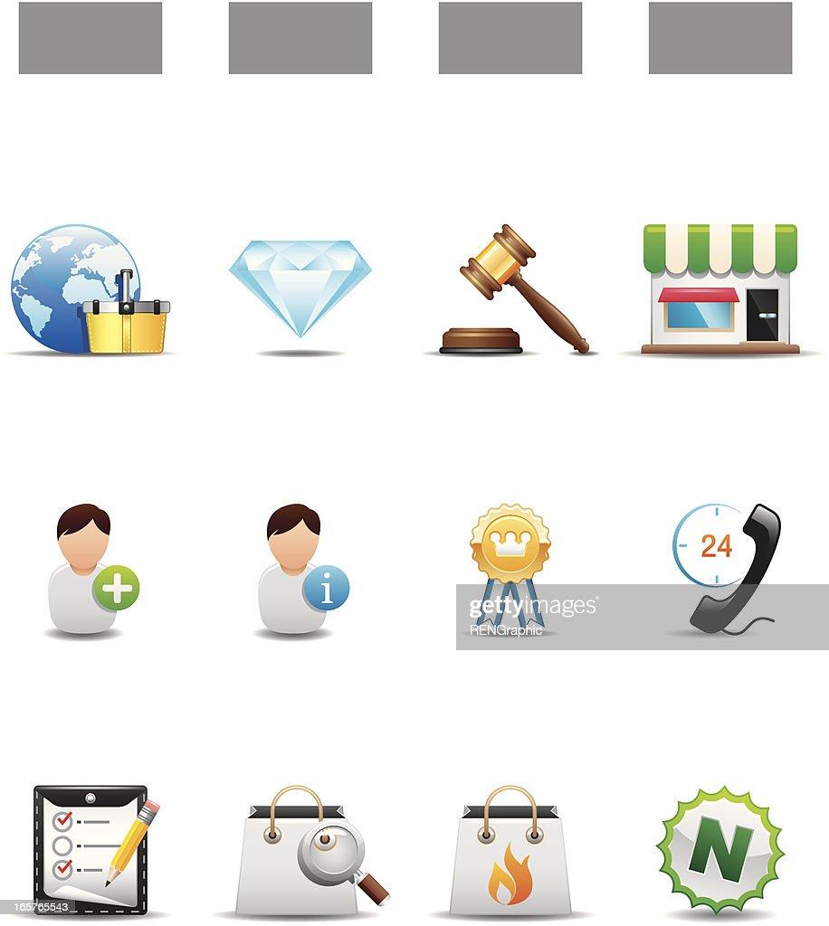 Auctions & Online Shopping Icon Set | Elegant Series : stock illustration