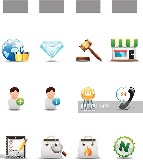 Auctions & Online Shopping Icon Set | Elegant Series