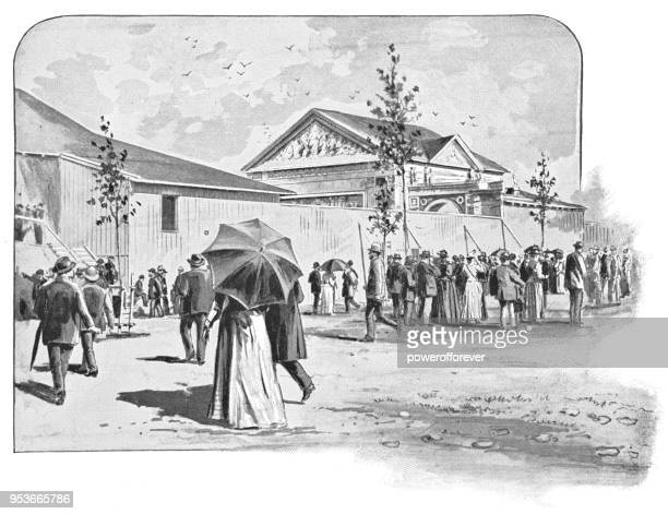 Audience Members Arriving at Passion Play in Oberammergau, Germany - 19th Century