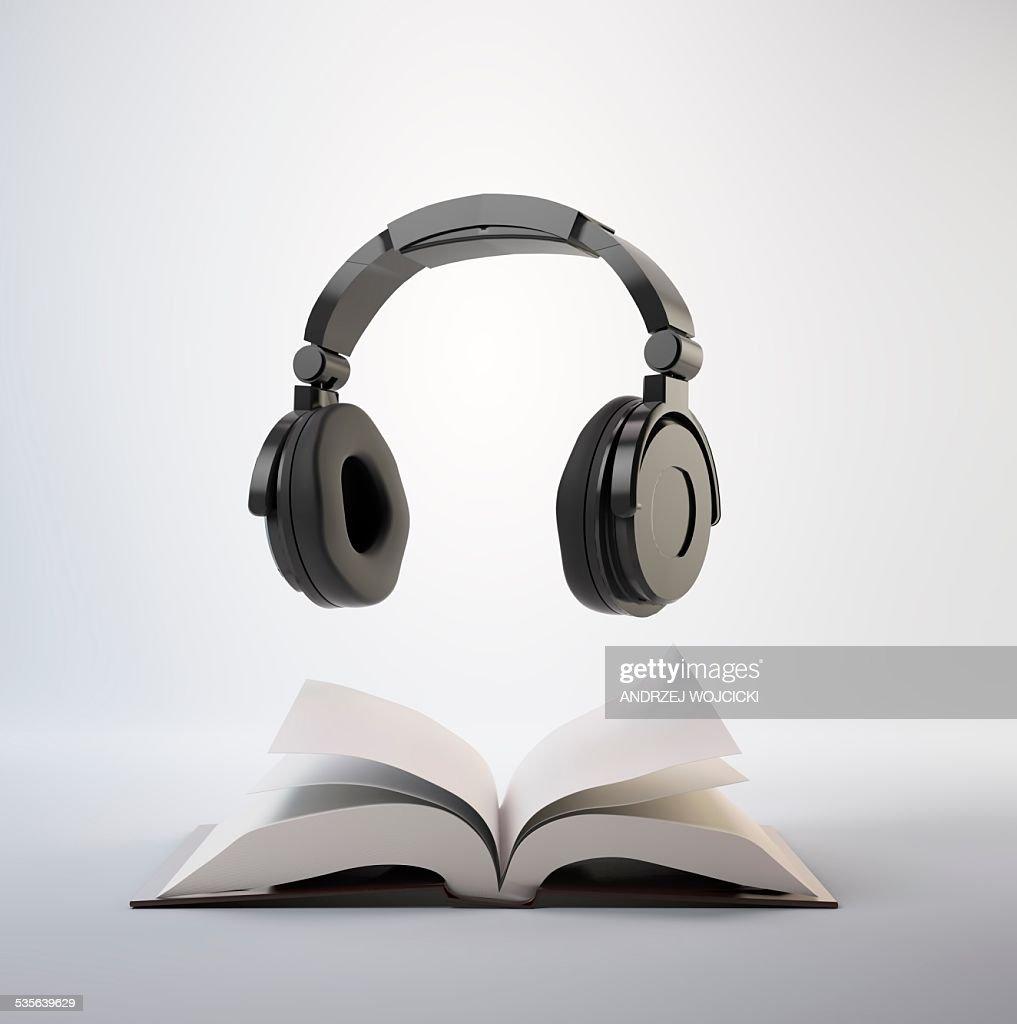 Audio book, artwork : stock illustration