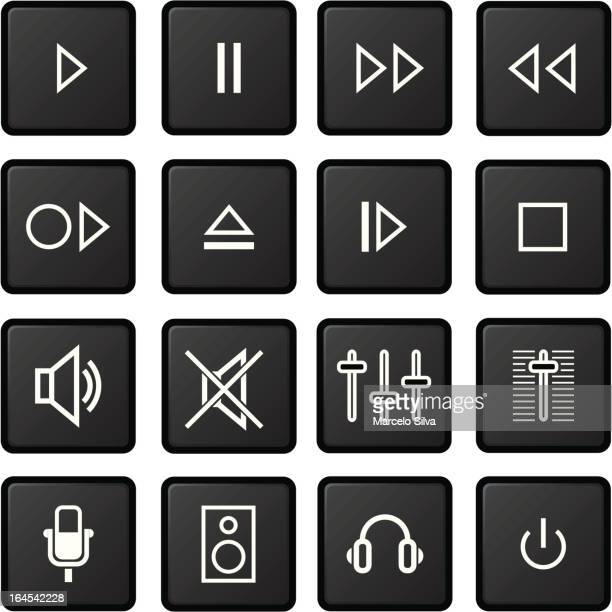 audio icon set - volume knob stock illustrations, clip art, cartoons, & icons
