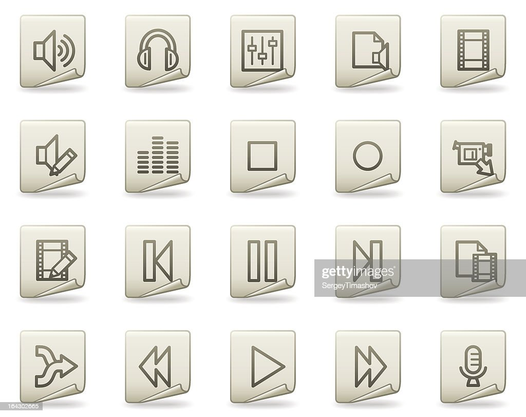 Audio video edit vector web icons, document series