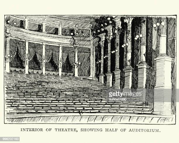 auditorium, bayreuth festival theatre, bavaria, germany, 19th century - theater industry stock illustrations, clip art, cartoons, & icons