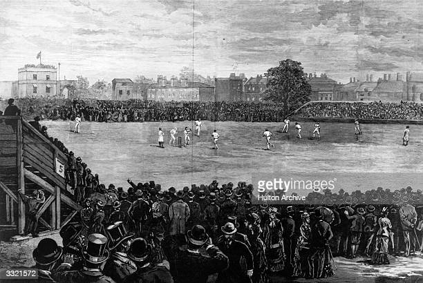 Spectators watching an England versus Australia Final Test cricket match at the Oval which Australia won by 7 runs Original Publication Illustrated...