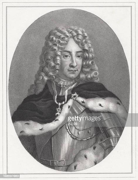 August the Strong (1670-1733), Elector of Saxony, lithograph, published 1837
