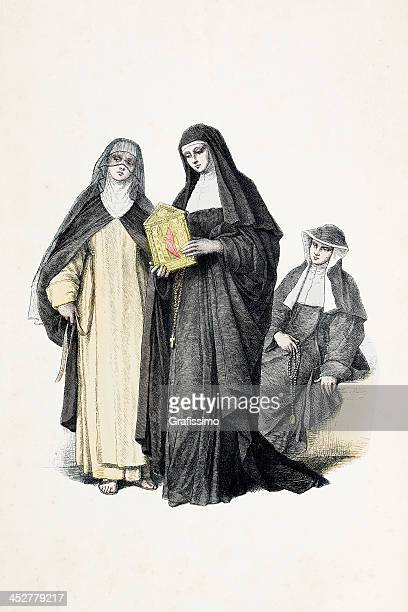Augustinian nun with traditional costumes from 18th century