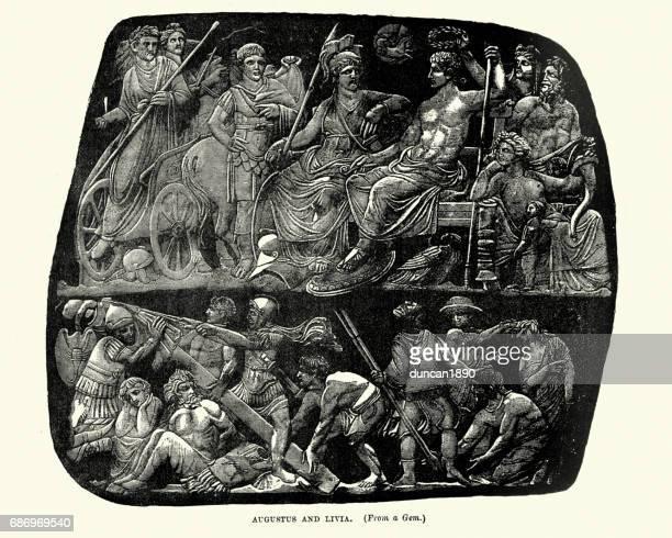 augustus and livia, roman emperor and empress - empress stock illustrations, clip art, cartoons, & icons