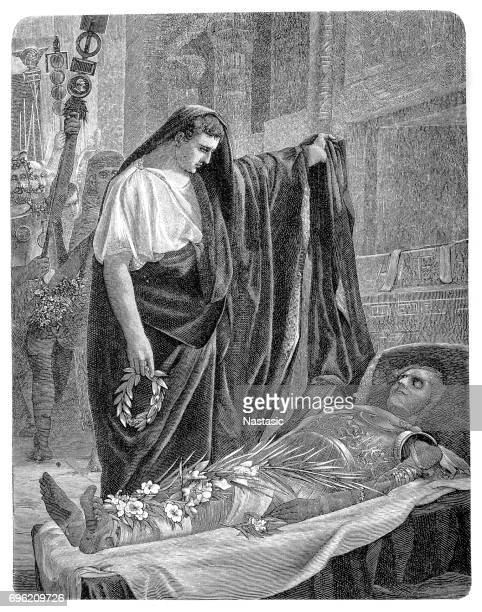 augustus at the tomb of alexander - alexander the great stock illustrations