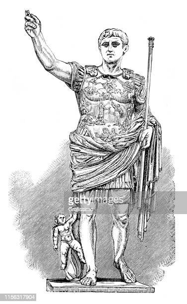 augustus roman emperor illustration - emperor stock illustrations