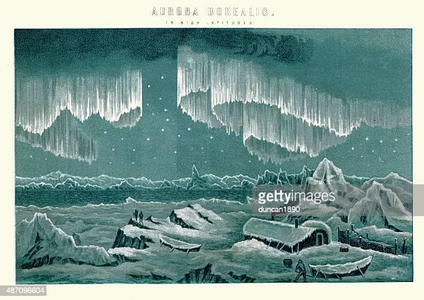 aurora borealis in high latitudes - aurora borealis stock illustrations