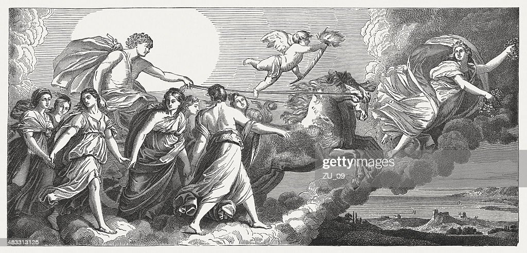 Aurora, fresco by Guido Reni (Italien painter), published in 1878 : stock illustration