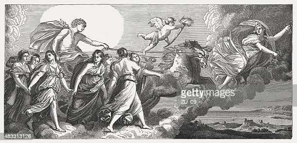 aurora, fresco by guido reni (italien painter), published in 1878 - greek mythology stock illustrations, clip art, cartoons, & icons