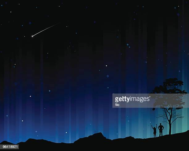ilustraciones, imágenes clip art, dibujos animados e iconos de stock de aurora - estrella fugaz