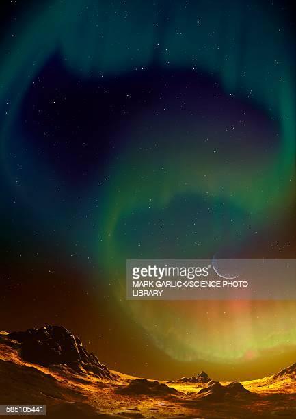aurora on planet kepler 438b - aurora borealis stock illustrations