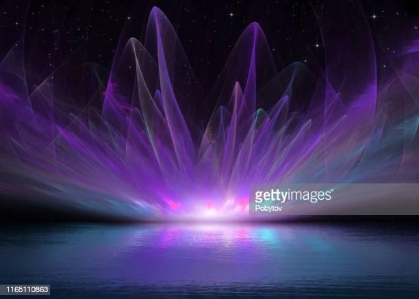 aurora over lake ice - dramatic sky stock illustrations