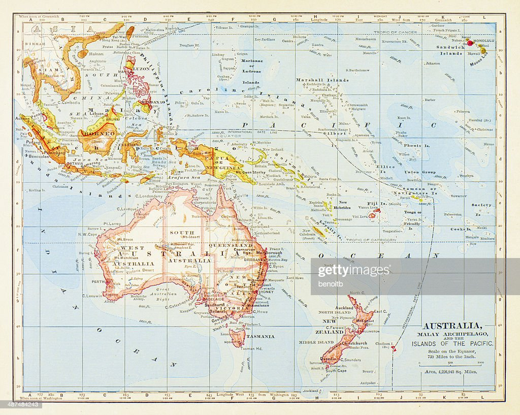 Australia And Pacific Map.1883 Australia And Islands Of The Pacific Map Stock Illustration