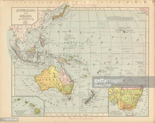australia antique victorian engraved colored map, 1899 - sydney stock illustrations