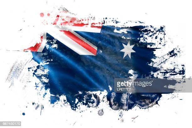 australian ink grunge flag - australian flag stock illustrations