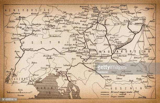 austria and hungary rail map from 1893 - balkans stock illustrations, clip art, cartoons, & icons