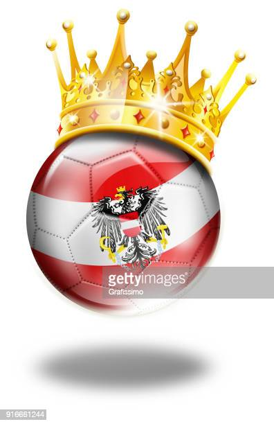 Austria soccer ball with austrian flag and crown isolated on white