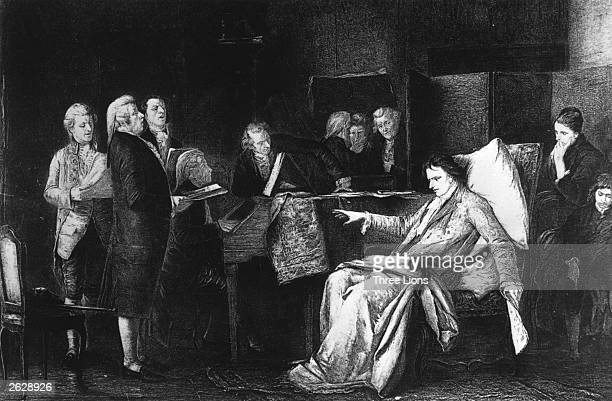 Austrian composer Wolfgang Amadeus Mozart on his death bed directing his 'Requiem'. Original Publication: People Disc - HN0462