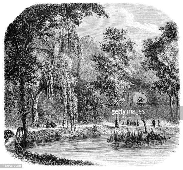 Auteuil Pond in Bois de Boulogne Park Before the Siege of Paris - 19th Century