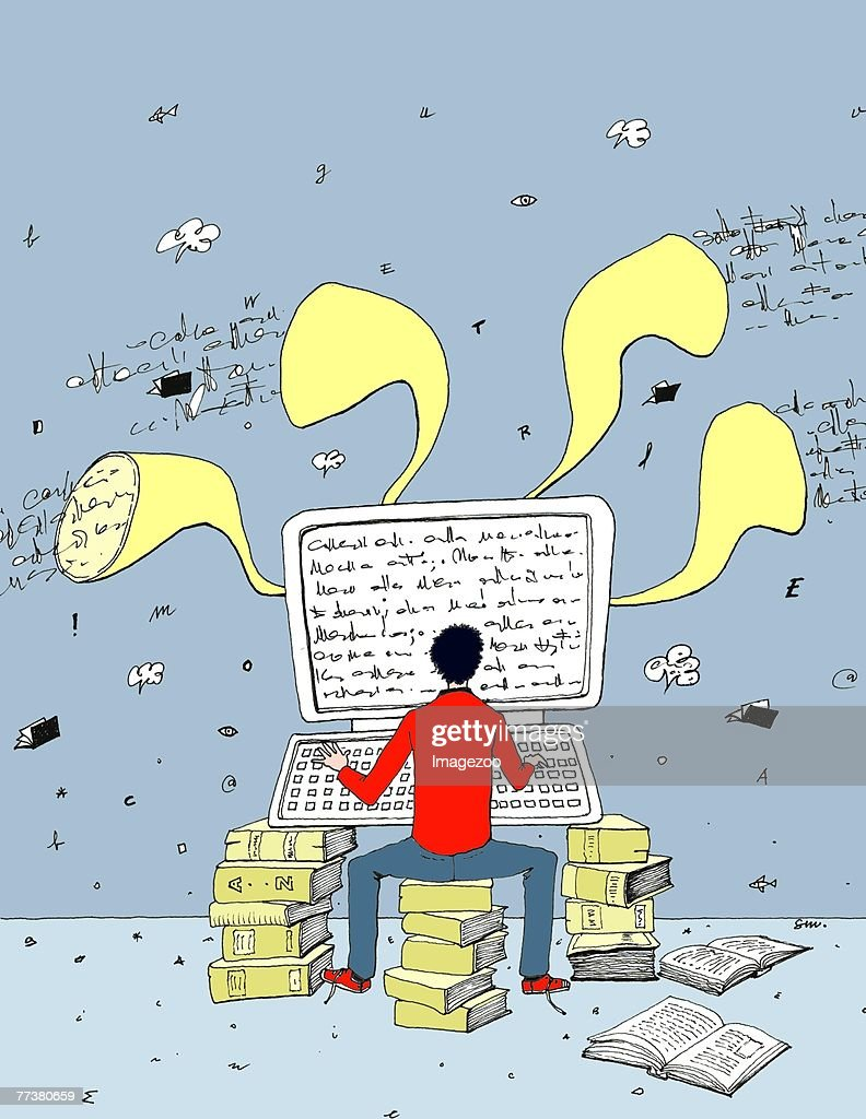 author typing on the computer : Illustration