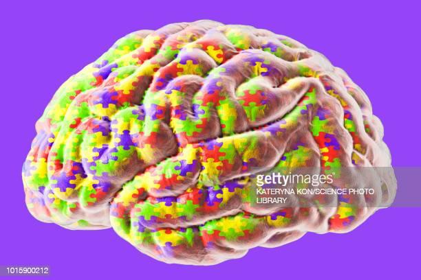 ilustraciones, imágenes clip art, dibujos animados e iconos de stock de autism spectrum disorder, conceptual illustration - autismo