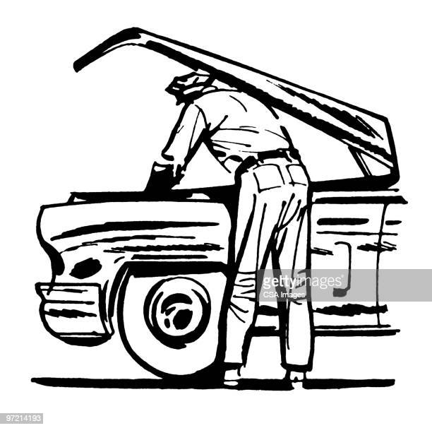 auto mechanic under a hood - vehicle hood stock illustrations, clip art, cartoons, & icons