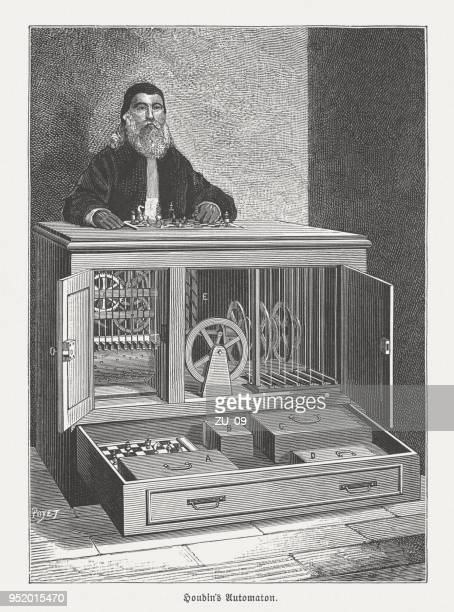 automaton chess player by robert-houdin (1805-1871), wood engraving, published 1888 - cabinet stock illustrations, clip art, cartoons, & icons