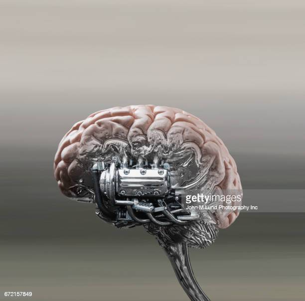 automobile engine powering brain stem - strength stock illustrations