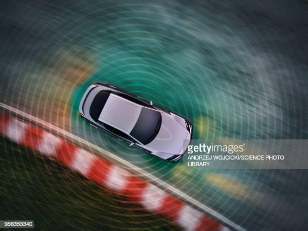 autonomous driving car, illustration - sensor stock illustrations, clip art, cartoons, & icons