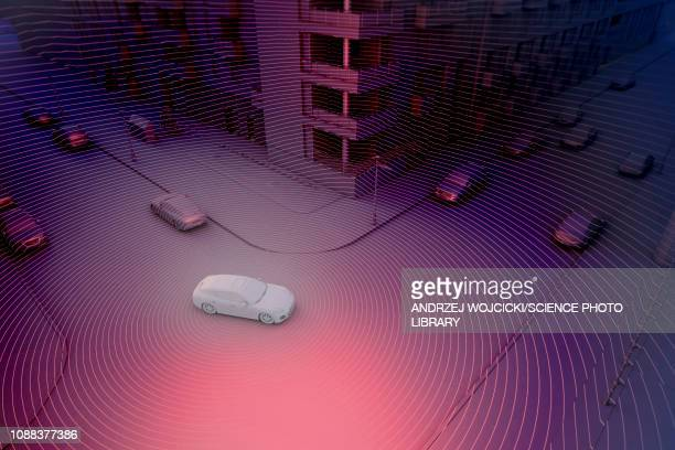 autonomously driven car, illustration - technology stock illustrations