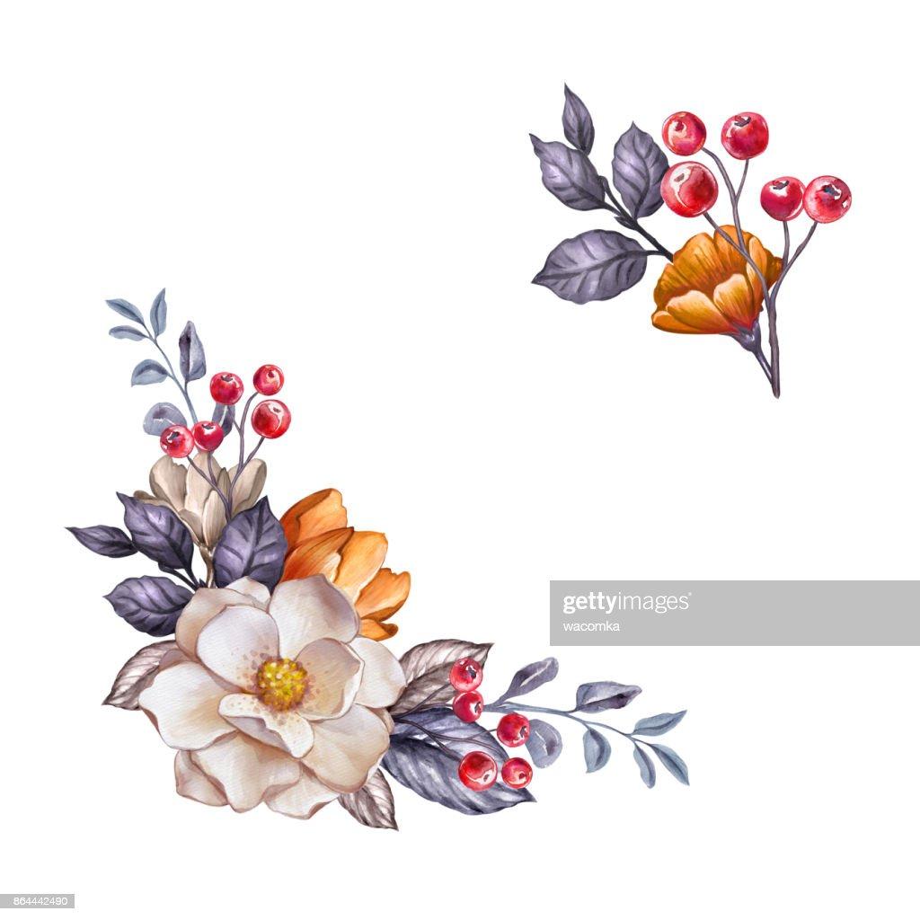 Autumn Floral Design Elements Set Watercolor Botanical Illustration