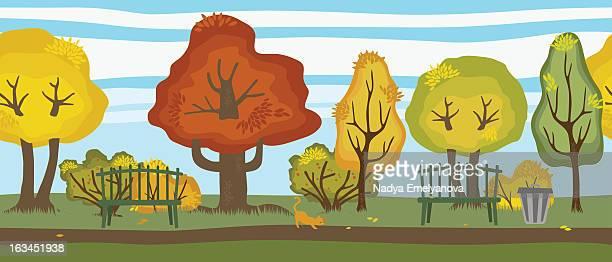 ilustraciones, imágenes clip art, dibujos animados e iconos de stock de autumn - banco del parque