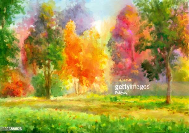 autumn landscape in oil painting - impressionism stock illustrations