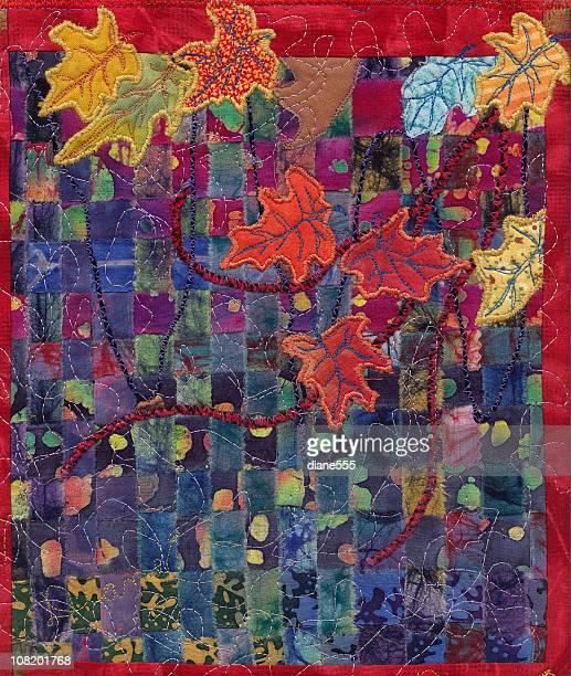 ilustraciones, imágenes clip art, dibujos animados e iconos de stock de hojas de otoño de arte aplique de edredón, textil - aplique arte de la costura