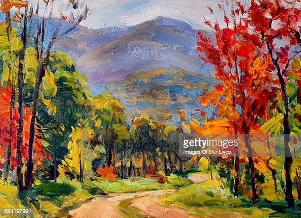 autumn leaves on trees in mountains - road stock illustrations