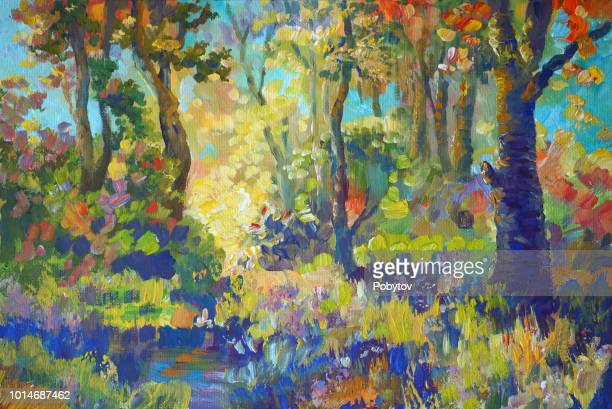 autumn painted forest in the style of impressionism - crude oil stock illustrations