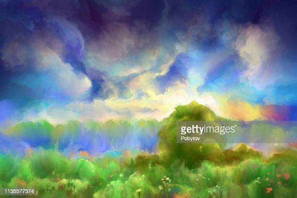 autumn painting landscape, impressionism - afterlife stock illustrations, clip art, cartoons, & icons