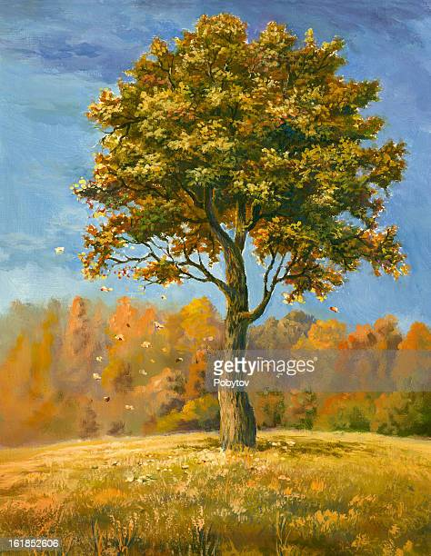 autumn tree - tree trunk stock illustrations, clip art, cartoons, & icons