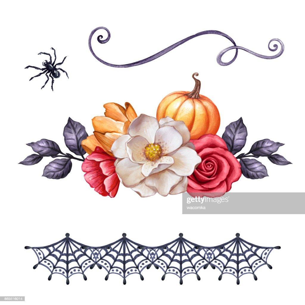 Herbst Aquarell Abbildung Halloween Ornamente Blumen Kurbis