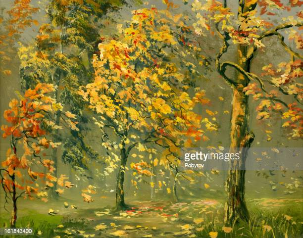 autumn wind - deciduous tree stock illustrations, clip art, cartoons, & icons