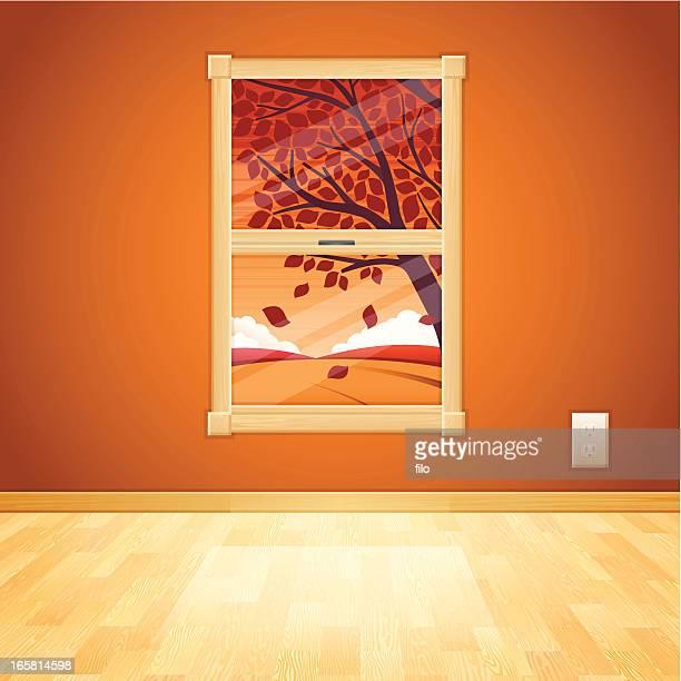 ilustraciones, imágenes clip art, dibujos animados e iconos de stock de otoño ventana - ventana