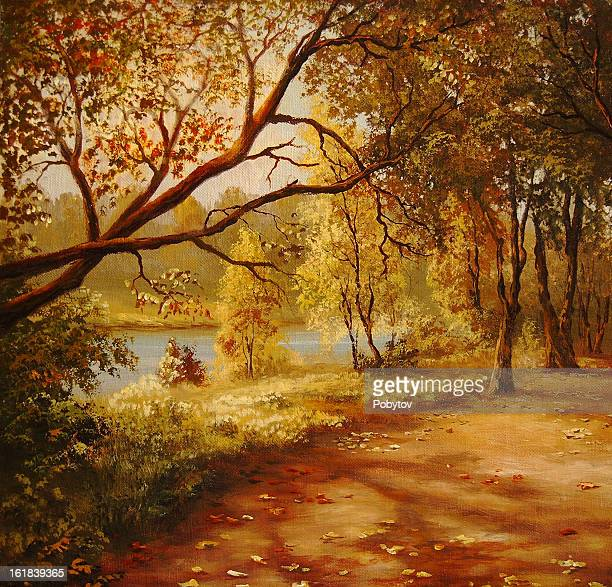 autumnal avenue - deciduous tree stock illustrations, clip art, cartoons, & icons