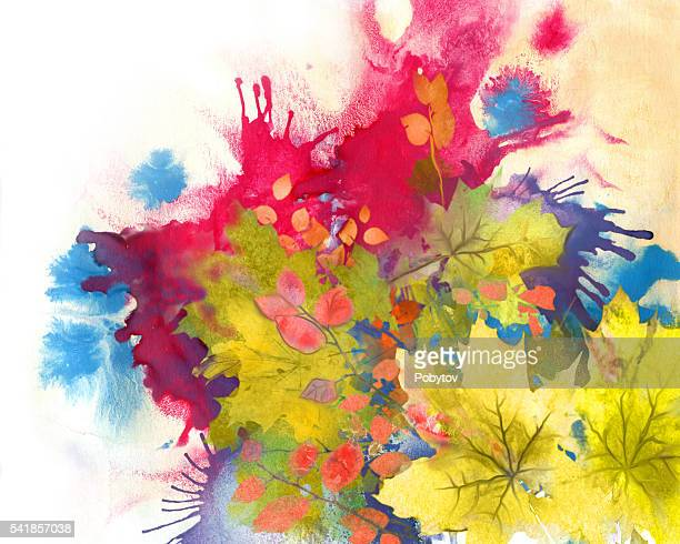 autumnal paints, watercolor background